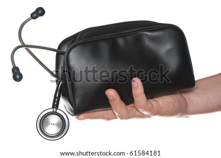 First Aid bag with medical stethoscope in hand isolated on white. - stock photo