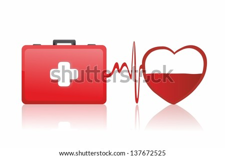first aid box and medical heart - stock photo