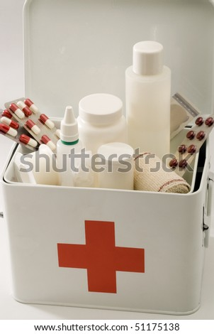 First aid box in white background. - stock photo