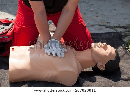 First aid. Cardiopulmonary resuscitation (CPR). - stock photo