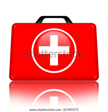 First aid case isolated on white background - stock photo