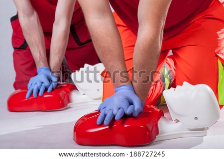 First aid course on white isolated background - stock photo