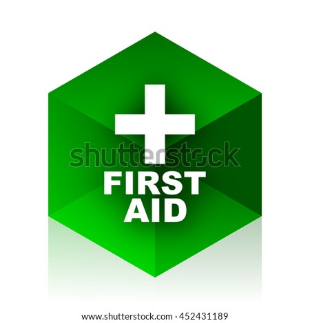 first aid cube icon, green modern design web element - stock photo