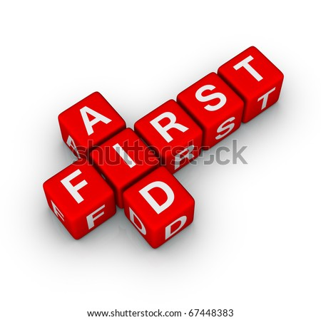 first aid cubes 3d crossword - stock photo