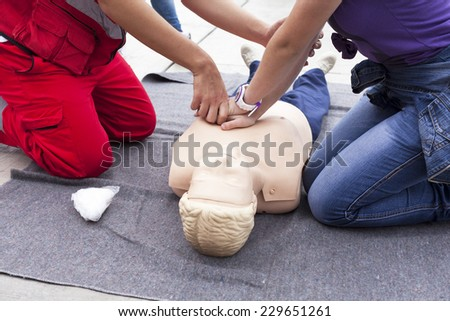 First aid exercise - stock photo