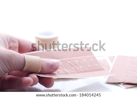 First-aid fix a finger - stock photo