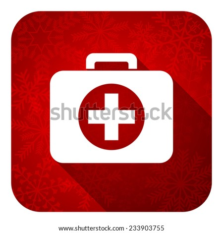first aid flat icon, christmas button, hospital flat icon, christmas button  - stock photo