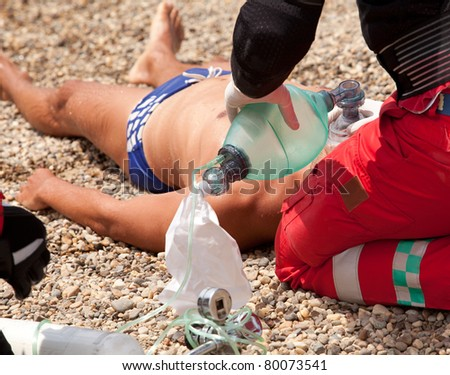 First aid for drowning - stock photo