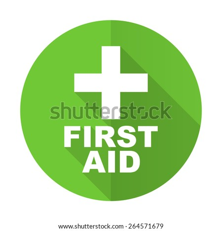 first aid green flat icon  - stock photo