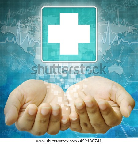 First Aid icon, Disabled symbol in hand - stock photo