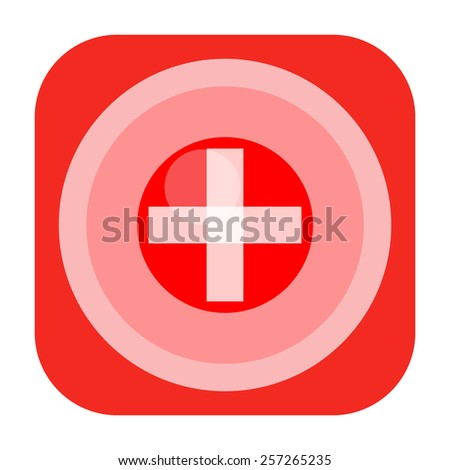 First aid icon with medical cross - stock photo