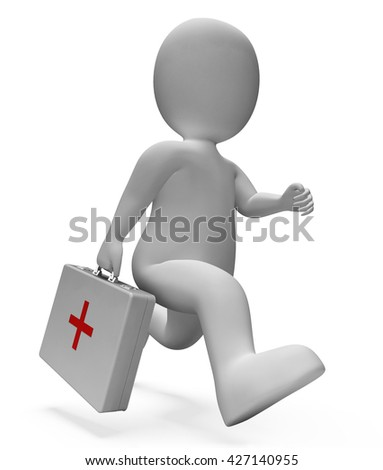 First Aid Indicating General Practitioner And Physician 3d Rendering - stock photo