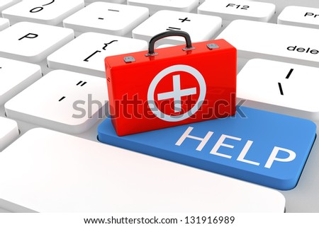 First Aid Kid over Help Button with a keyboard - stock photo
