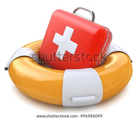 First aid kit and life belt in the design of the information related to the assistance. 3d illustration