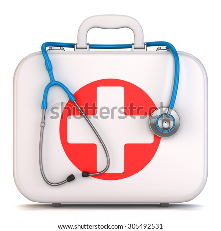 First aid kit box and stethoscope isolated on white background 3d