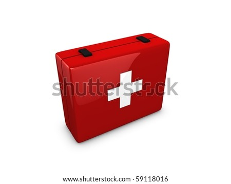First Aid kit box isolated over white background - stock photo