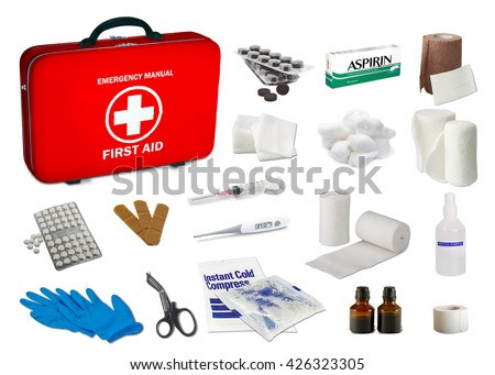 First aid kit box with medical equipment and medications for emergency, objects top view - stock photo