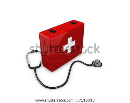 First Aid kit box with stethoscope isolated over white background - stock photo