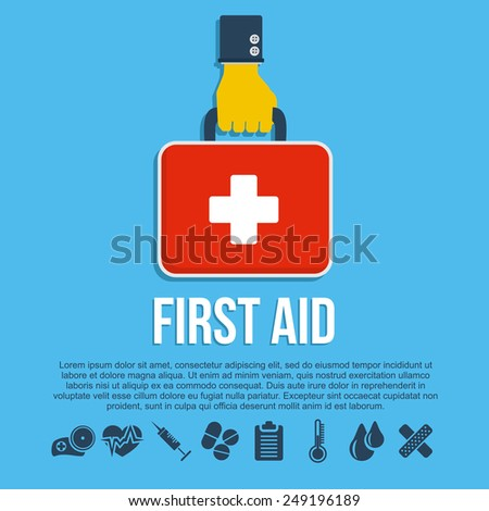 First aid kit concept with hand holding medicine chest with cross and healthcare icons flat illustration - stock photo