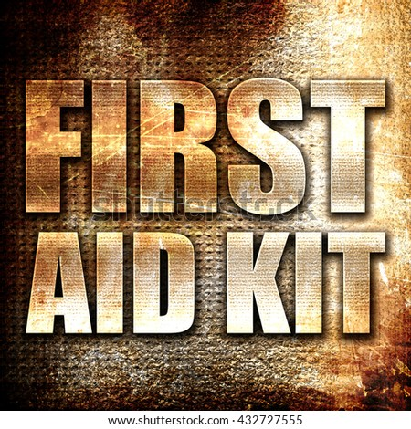 first aid kit, 3D rendering, metal text on rust background