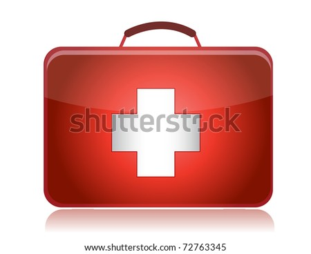 First aid kit illustration design isolated on white background - stock photo