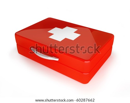 First aid kit in red metal 3d illustration - stock photo