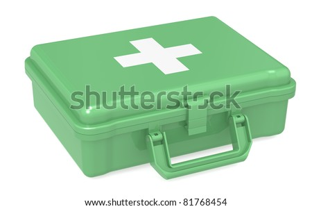 First aid kit. ISO Green, isolated.