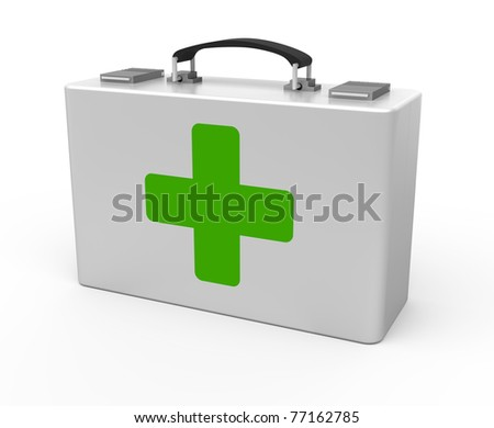 First aid kit isolated on the white background - stock photo