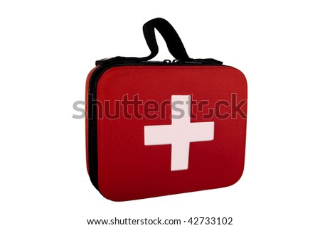 First aid kit isolated on white