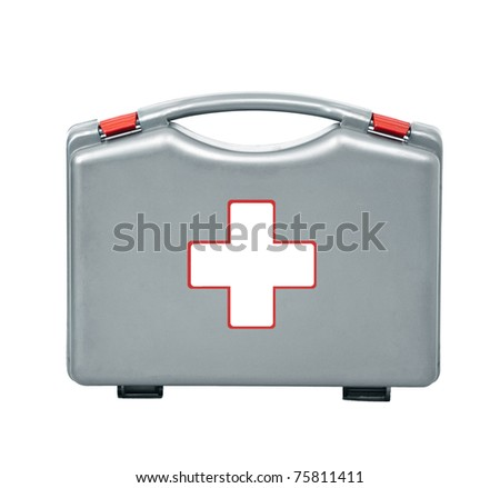 first aid kit isolated on white - stock photo