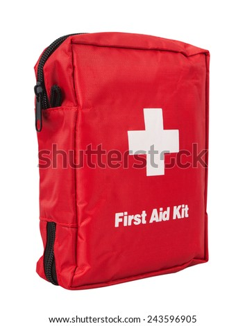 First Aid Kit, isolated on white background - stock photo