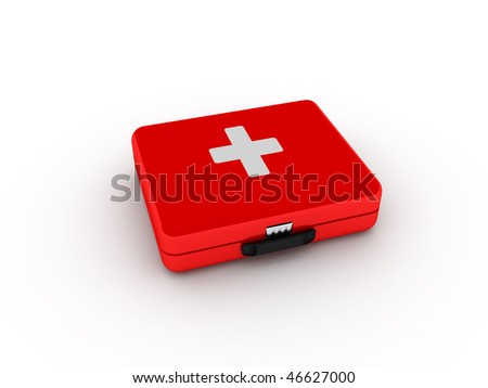 First aid kit isolated on white background. High quality 3d render. - stock photo