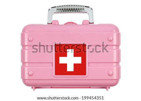 First aid kit isolated on white. Clipping path included. - stock photo