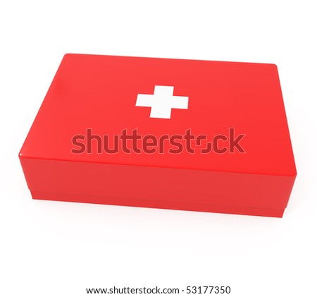 First aid kit isolated on white - 3d illustration