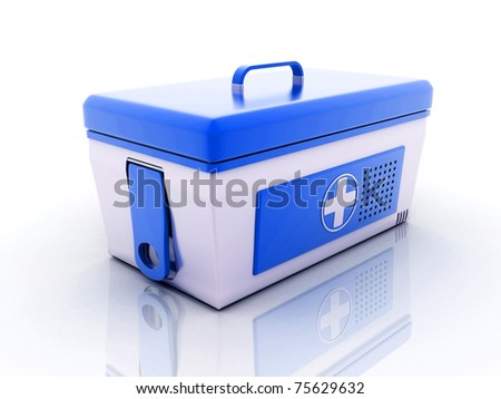First aid kit on white background. - stock photo