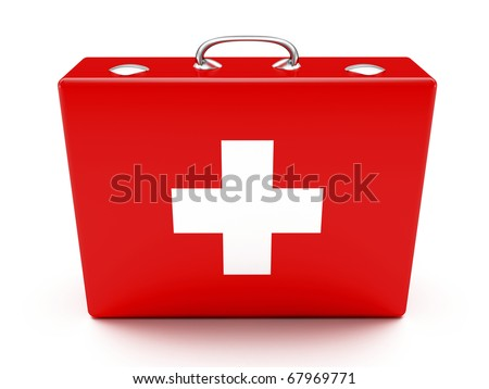First aid kit. Red suitcase isolated on white background. - stock photo