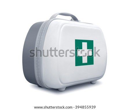 First aid kit with green cross logo on white background, diagonal view - stock photo