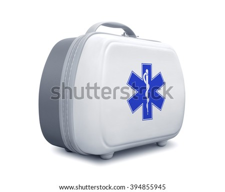 First aid kit with star of life logo on white background, diagonal view - stock photo