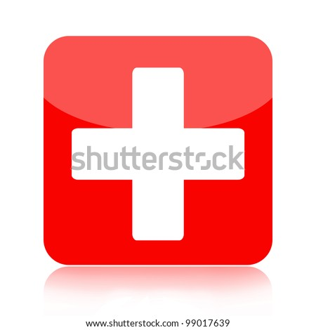 First aid medical button isolated on white background - stock photo