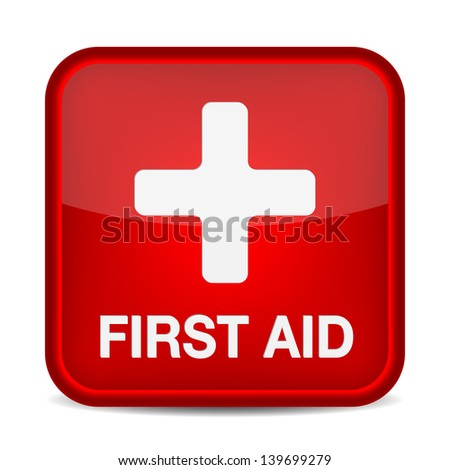 First aid medical button sign isolated on white. - stock photo