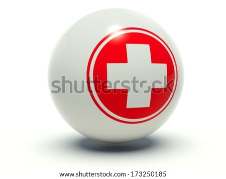 First aid medical cross sign. 3d render illustration in white and red.