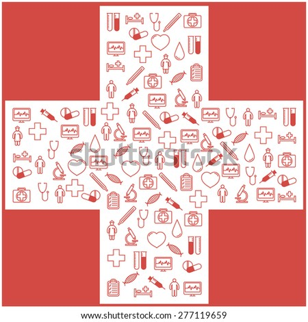 First aid medical icons set. Illustration in linear (flat) design.