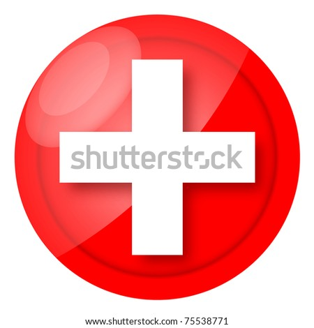 First aid medical sign isolated over white background - stock photo