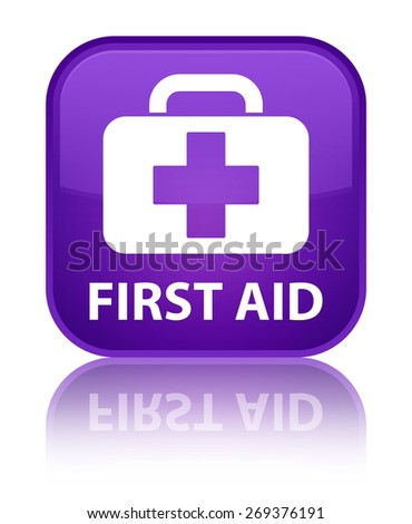 First aid purple square button - stock photo