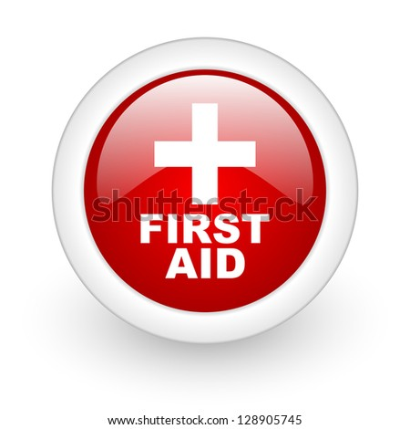 first aid red circle glossy web icon on white background - stock photo