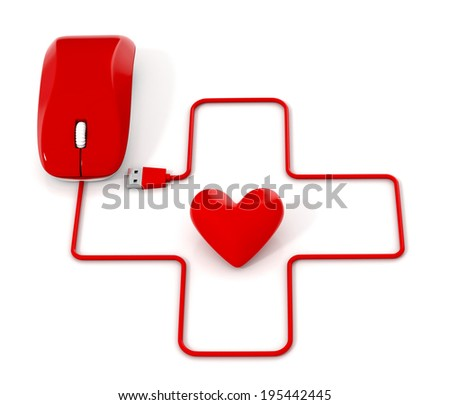 First aid sign with cable, heart  and computer mouse. 3d illustration.
