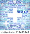 First aid sign - word cloud abstract - stock photo