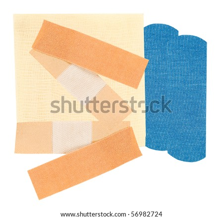 first-aid supplies on a white background - stock photo