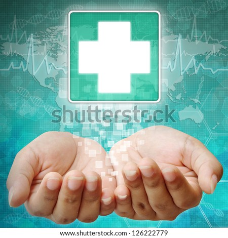 First Aid Symbol on hand, medical icon