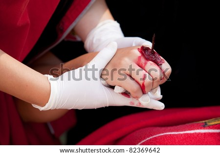 First aid training - stock photo